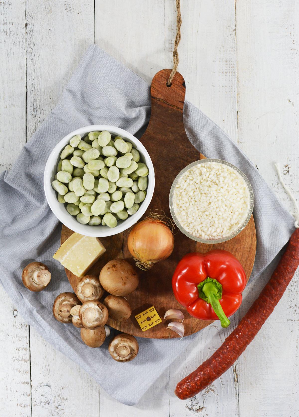 Ingredienten risotto met chorizo