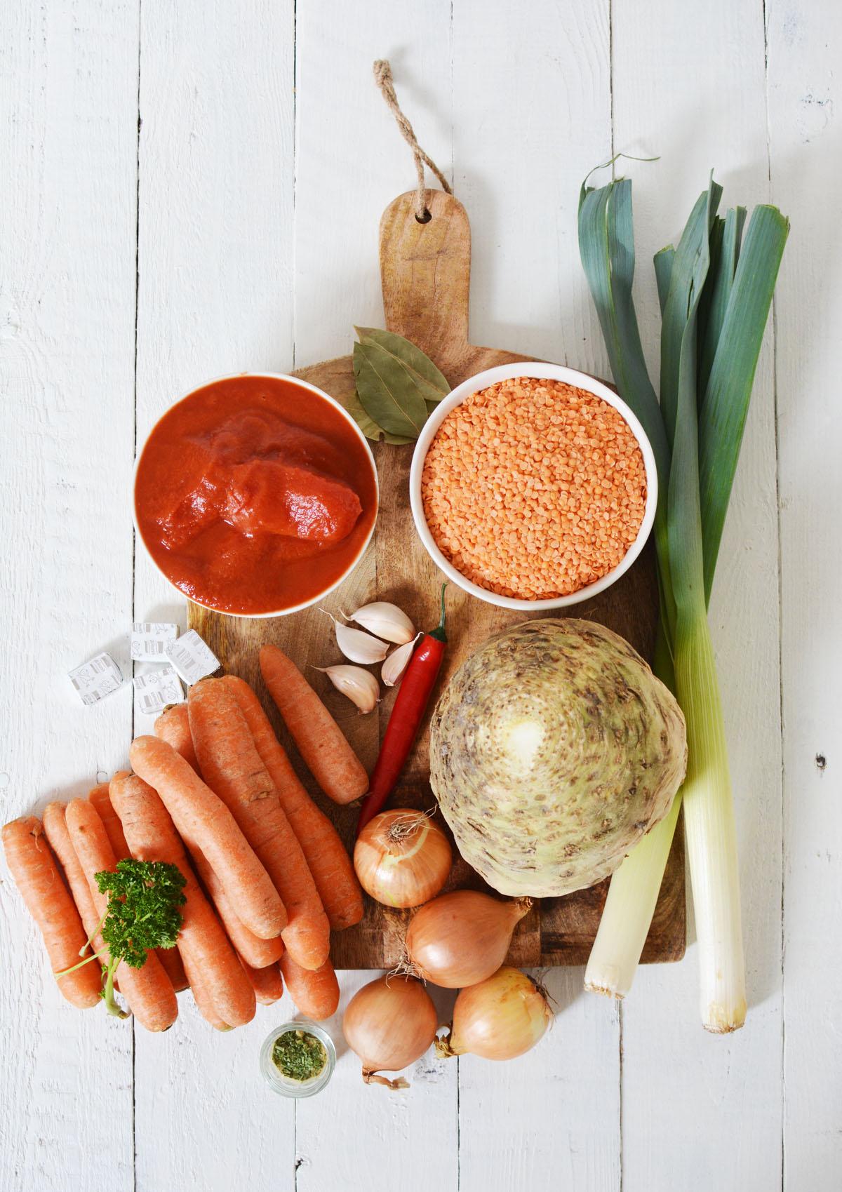 Ingredienten linzensoep
