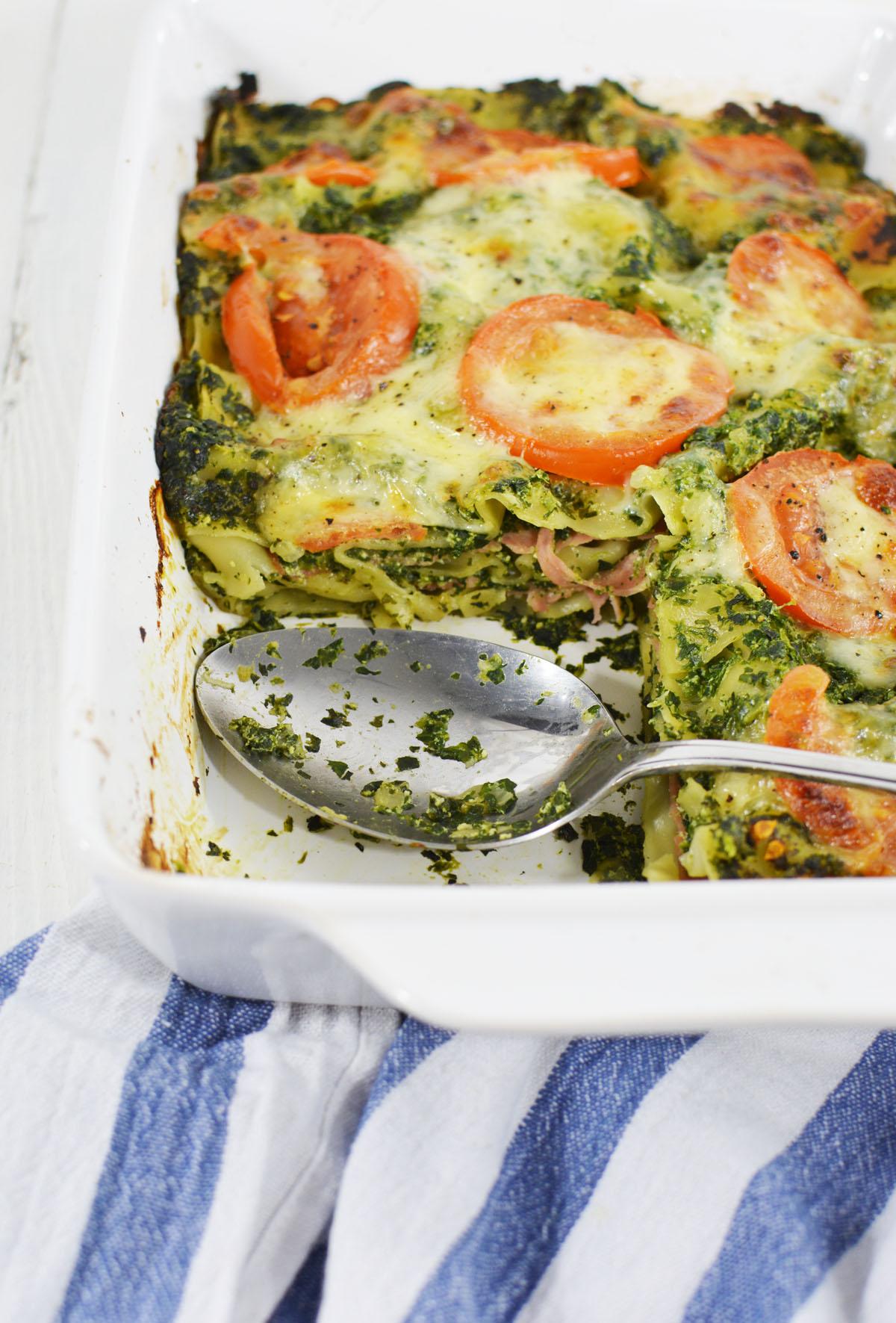 Lasagne met spinazie en ham 5