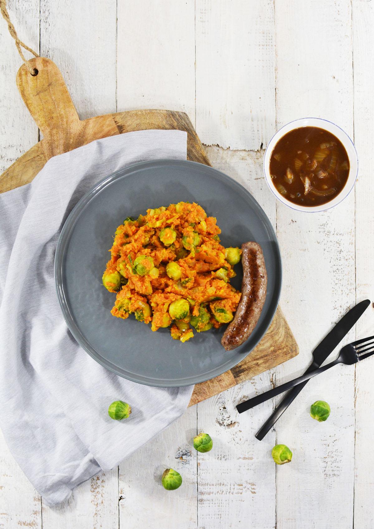 Zoete aardappelstamppot met spruitjes 1