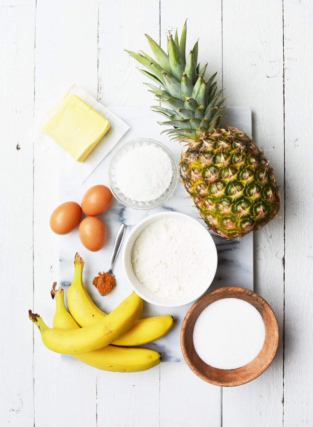 Ingredienten tropische cake