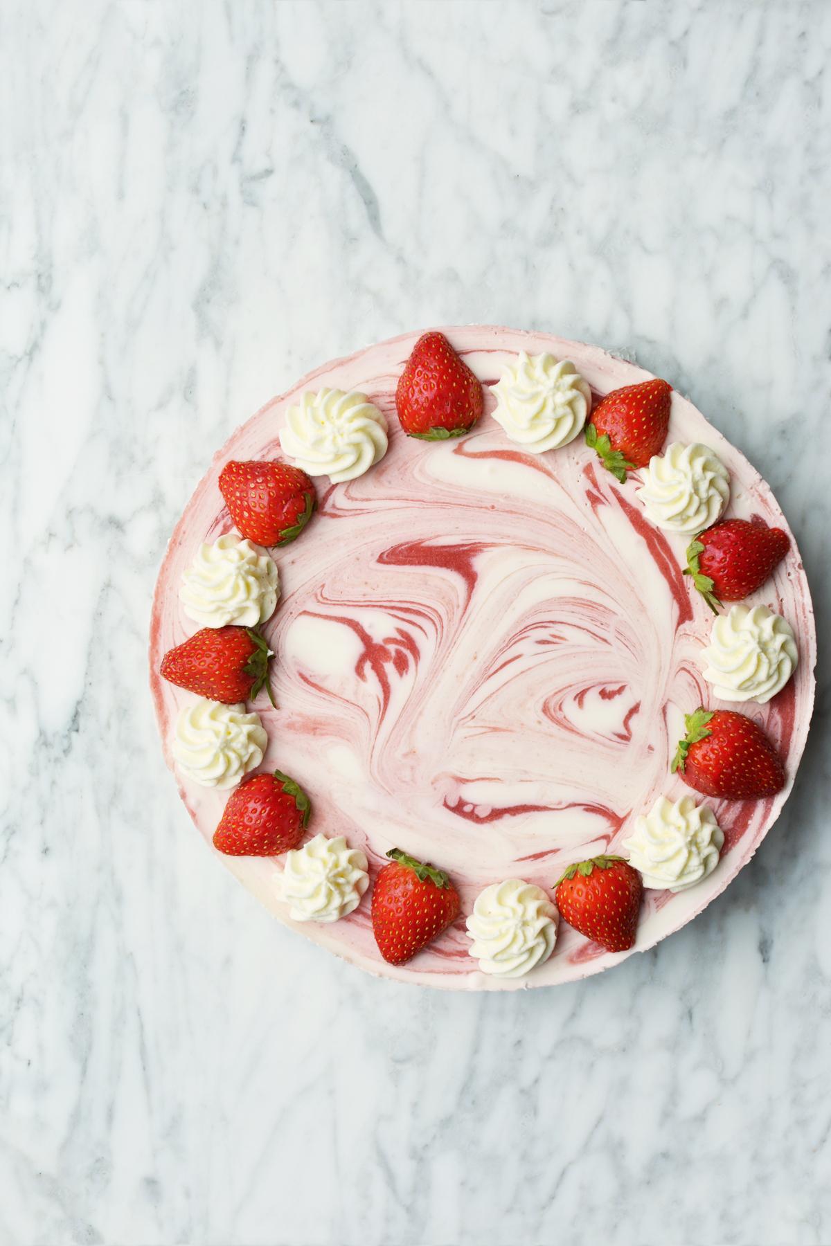 Aardbeien yoghurttaart 1.1.