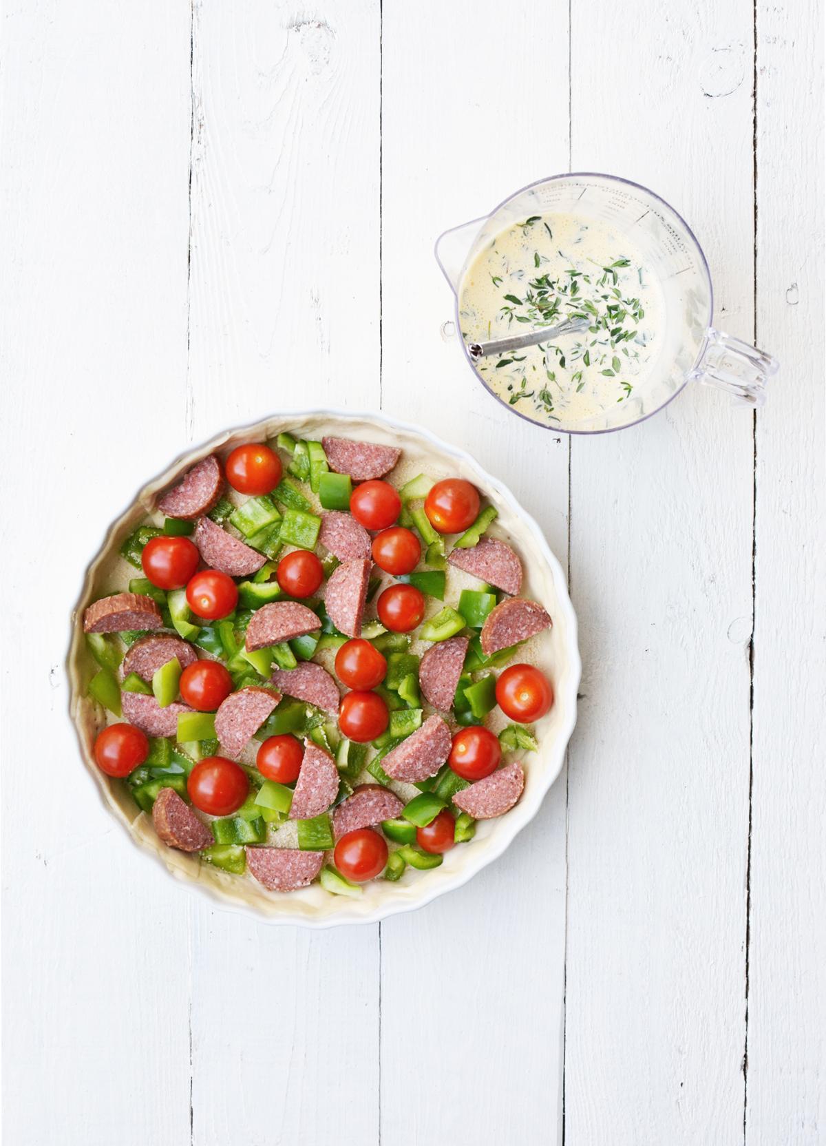 Quiche met tomaatjes en salami 1