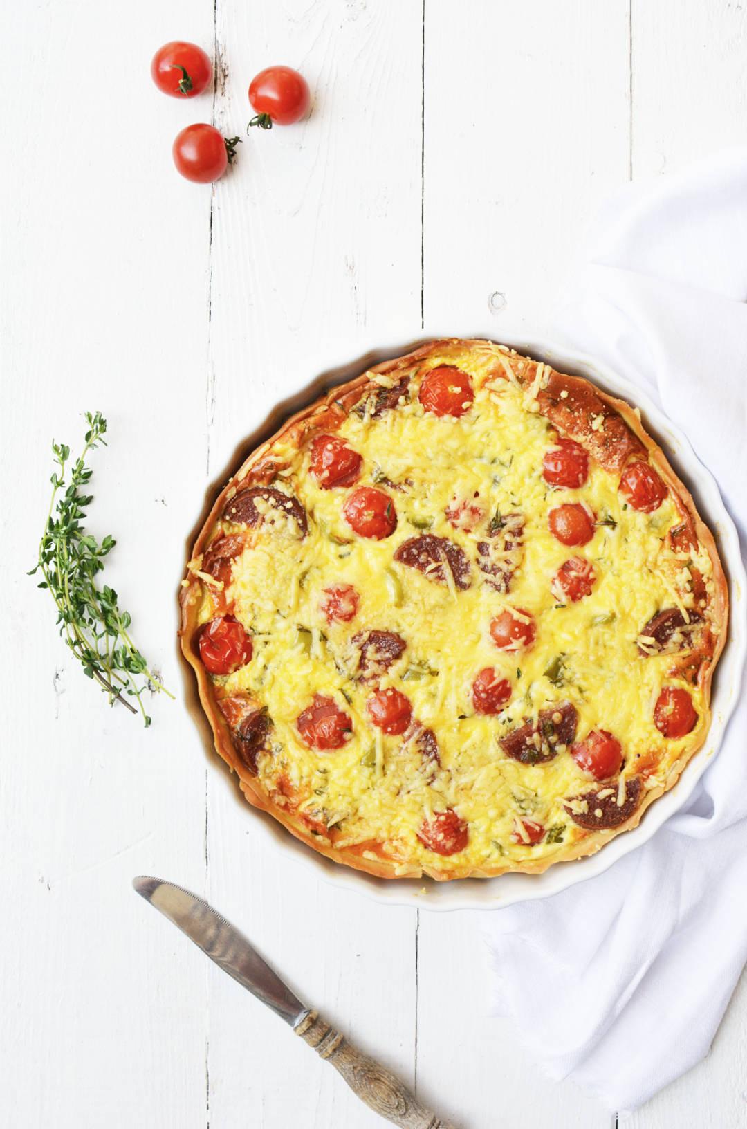 Quiche met tomaatjes en salami 7 nieuw