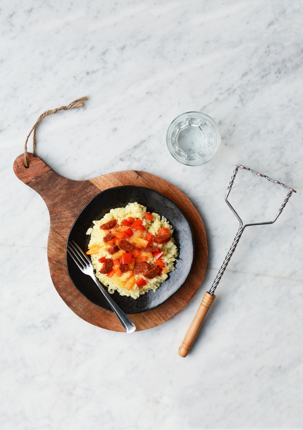 Zuurkoolstamppot met chorizo, paprika en ananas 3
