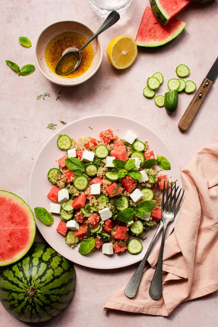 Salade met quinoa en watermeloen